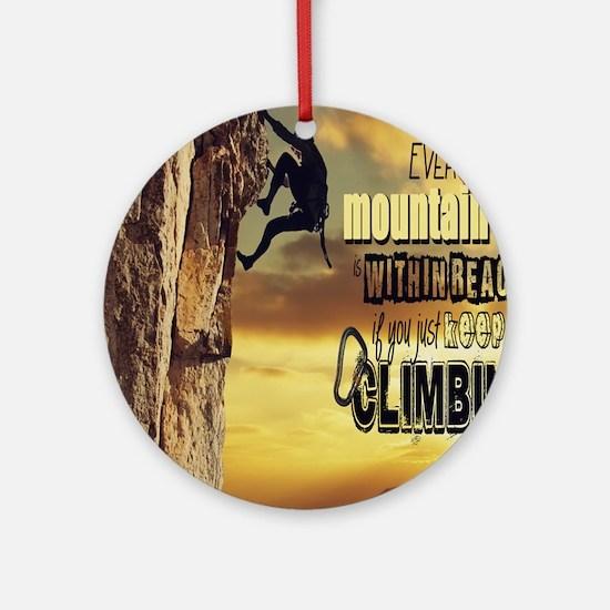 Cute Mountain climber Round Ornament