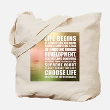 Life Begins At Conception Tote Bag