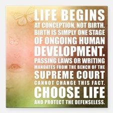 """Life Begins At Conception Square Car Magnet 3"""" x 3"""