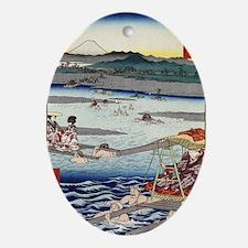 Oi River In Shunen - Hiroshige Ando  Oval Ornament