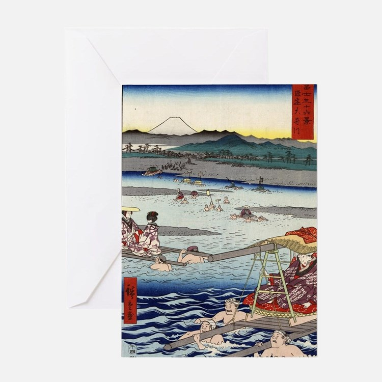 Oi River In Shunen - Hiroshige Ando  Greeting Card