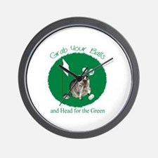 Golf Raccoon Wall Clock