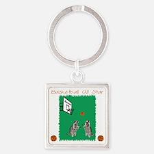 Basketball Raccoon Square Keychain
