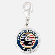 CV-67 USS John F. Kennedy Silver Round Charm