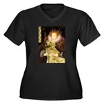 The Queen's Golden Women's Plus Size V-Neck Dark T