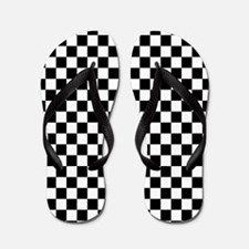Checks Black White Checkerboard Flip Flops