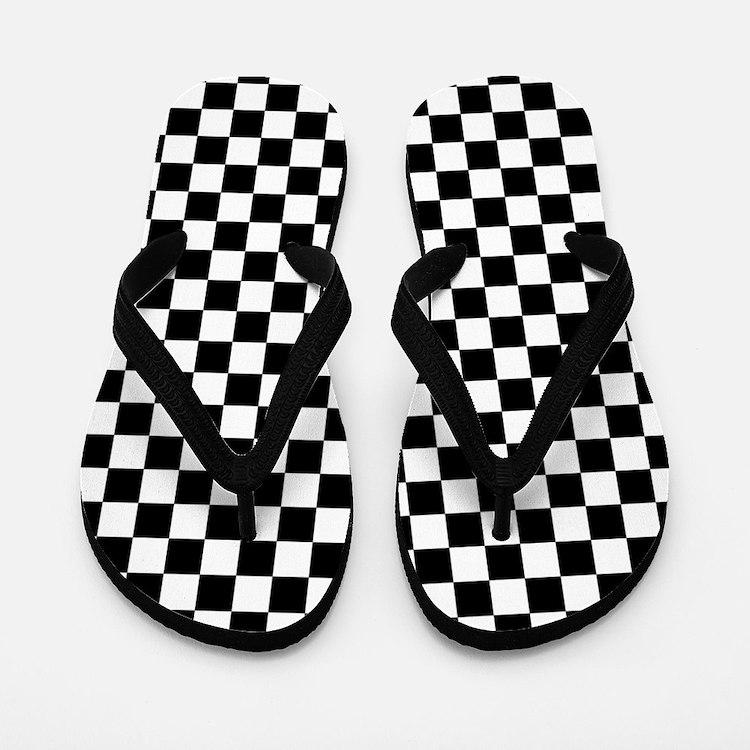 Checks Black White Checkerboard Flip Flops