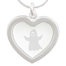 Cute ghost Silver Heart Necklace