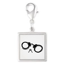 Handcuffs keys Silver Square Charm