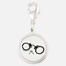 Handcuffs keys Silver Round Charm