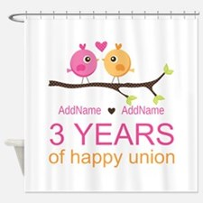 3rd Year Anniversary Personalized Shower Curtain