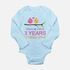 3rd Year Anniversary P Long Sleeve Infant Bodysuit