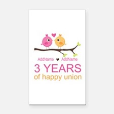3rd Year Anniversary Personal Rectangle Car Magnet