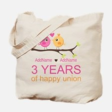 3rd Year Anniversary Personalized Tote Bag