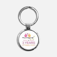 3rd Year Anniversary Personalized Round Keychain