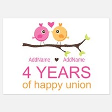 4th Year Anniversary Personalized 5x7 Flat Cards