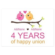 4th Year Anniversary Personalized Invitations