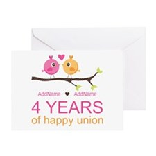 4th Year Anniversary Personalized Greeting Card