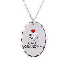 Keep Calm Call Grandma Necklace Oval Charm