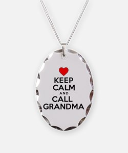 Keep Calm Call Grandma Necklace Oval Charm