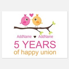 5th Anniversary Personalized 5x7 Flat Cards