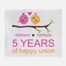 5th Anniversary Personalized Throw Blanket