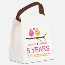 5th Anniversary Personalized Canvas Lunch Bag