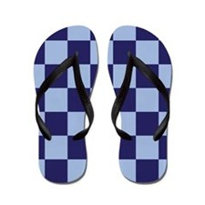 Blue Checks Geometric Flip Flops