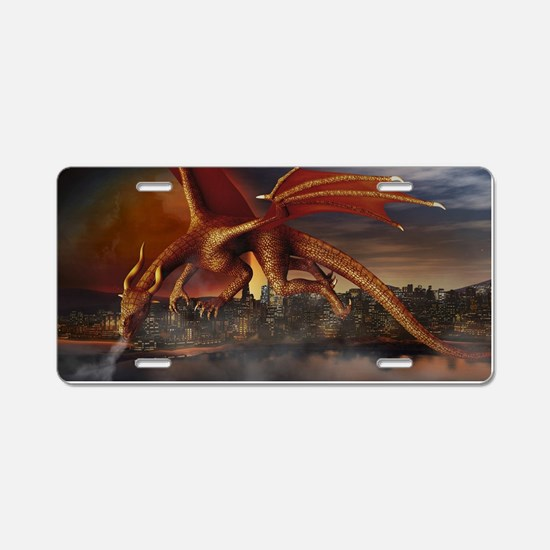 Dragon Attack Aluminum License Plate