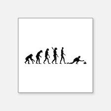 "Curling evolution Square Sticker 3"" x 3"""