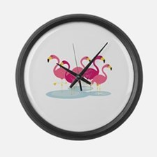 Flamingos Large Wall Clock