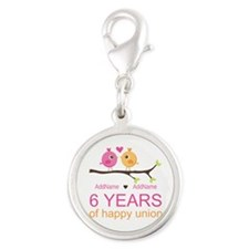 6th Anniversary Personalized Silver Round Charm