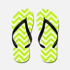Safety green and white chevrons Flip Flops