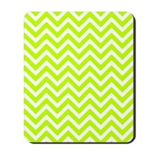 Safety green and white chevrons Mousepad