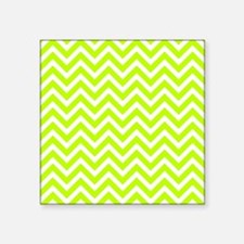 """Safety green and white chev Square Sticker 3"""" x 3"""""""