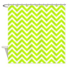 Safety green and white chevrons Shower Curtain