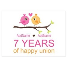 7th Anniversary Personalized 5x7 Flat Cards