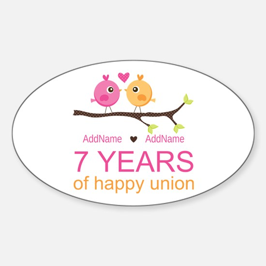 7th Anniversary Personalized Sticker (Oval)