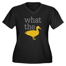 What The Duc Women's Plus Size V-Neck Dark T-Shirt
