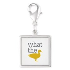 What The Duck? Silver Square Charm