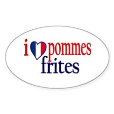 I Love Pommes Frites Oval Decal