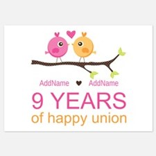 9th Wedding Anniversary Personalize 5x7 Flat Cards