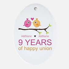 9th Wedding Anniversary Personaliz Ornament (Oval)