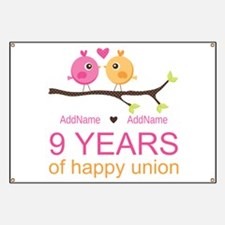 9th Wedding Anniversary Personalized Banner