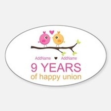 9th Wedding Anniversary Personalize Decal