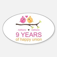 9th Wedding Anniversary Personalize Sticker (Oval)