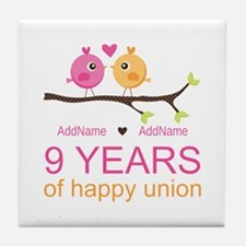 9th Wedding Anniversary Personalized Tile Coaster