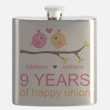 9th Wedding Anniversary Personalized Flask