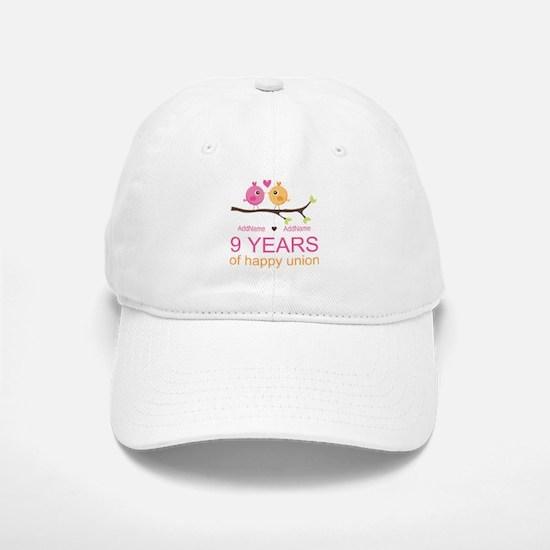 9th Wedding Anniversary Personalized Baseball Baseball Cap