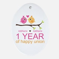 1st Anniversary Personalized Ornament (Oval)